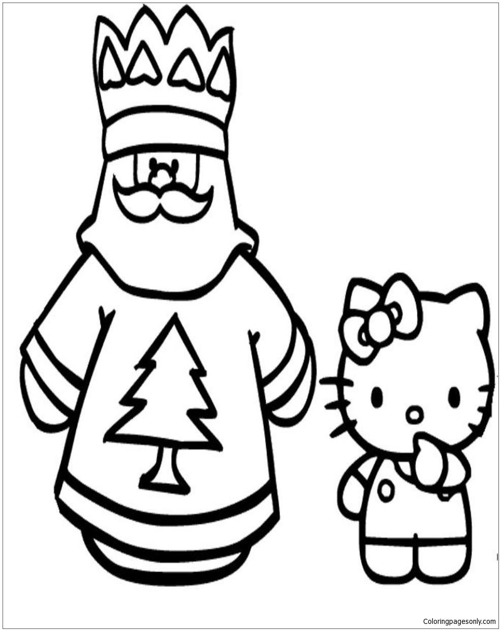 santa hello kitty coloring pages-#3