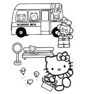 Hello Kitty And School Bus