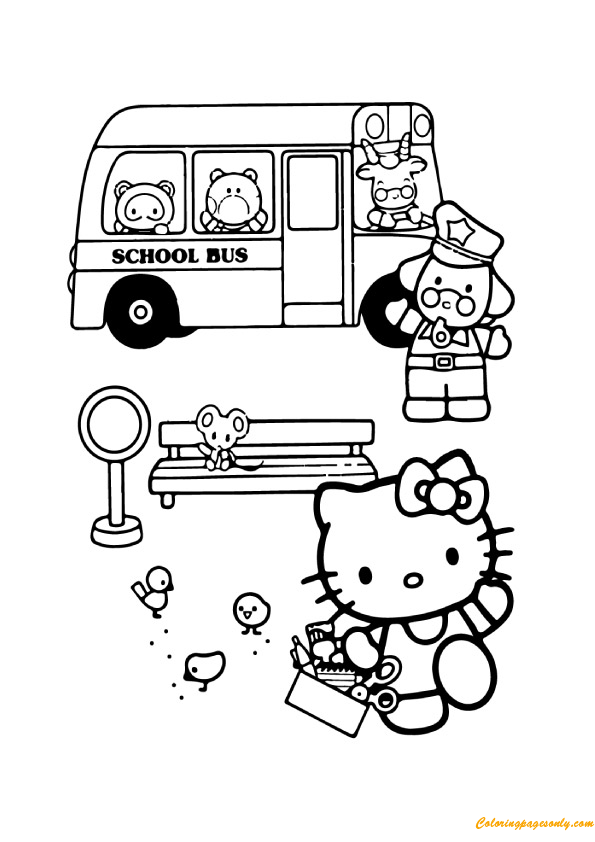 Hello Kitty And School Bus Coloring Pages Cartoons Coloring Pages Free Printable Coloring Pages Online