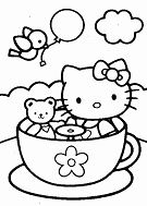 Hello Kitty and teddy bear in tea cup