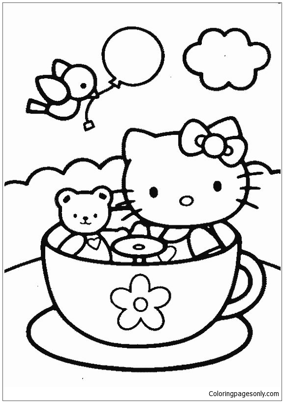 Hello Kitty and teddy bear in tea cup Coloring Page - Free Coloring ...