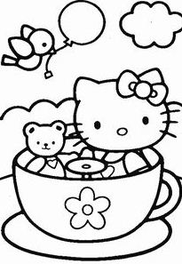 Hello Kitty And Teddy Bear Coloring Page