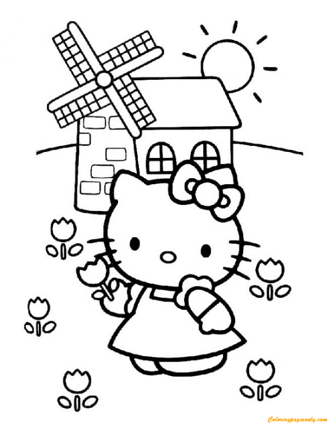 Hello Kitty With The Mill Coloring Page