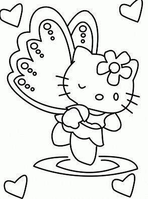 Hello Kitty Angel 1 Coloring Page