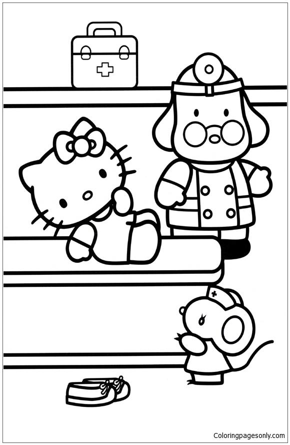 Hello Kitty At The Doctor Coloring Page