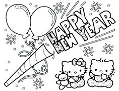 Hello Kitty Baby Happy New Year 2019 Coloring Page