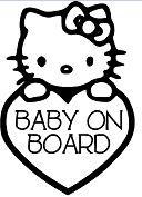 Hello Kitty Baby on Board Coloring Page