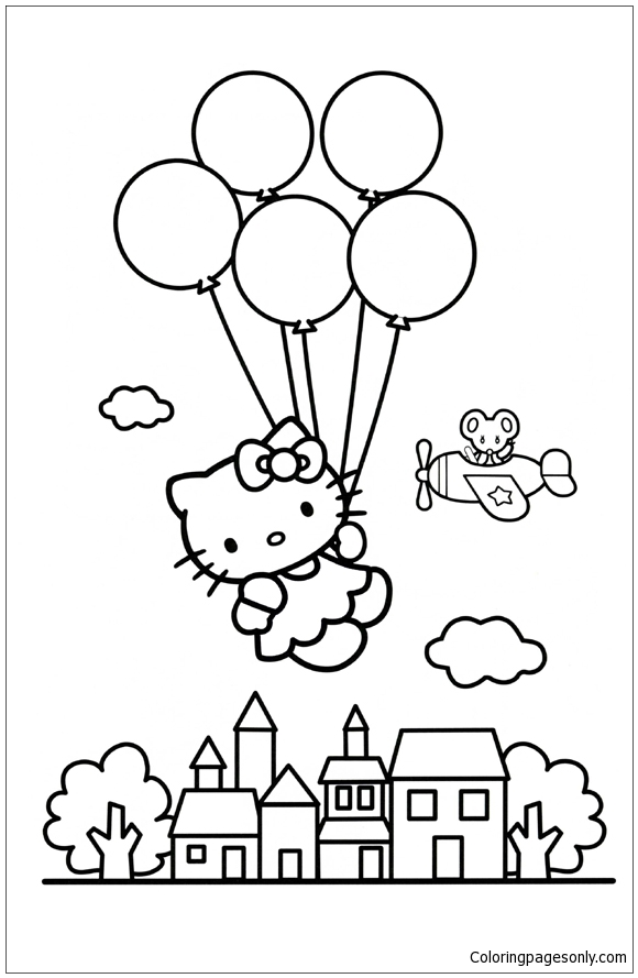 Hello Kitty Balloons Coloring Page