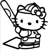 Hello Kitty Baseball Coloring Page
