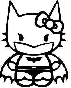 Hello Kitty Batman Vinyl Decal Sticker