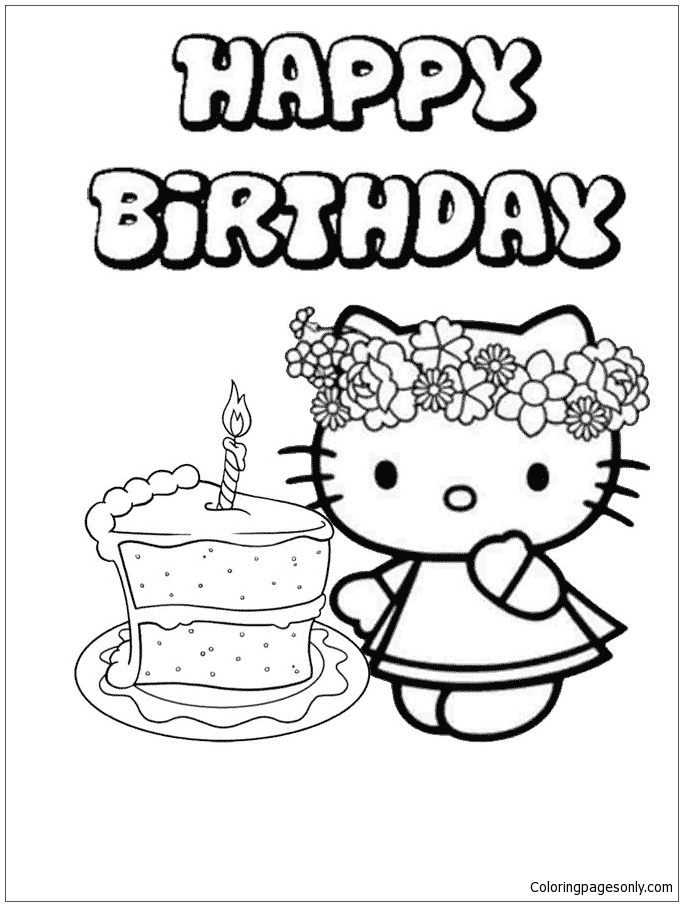 Hello Kitty Birthday Cake 1 Coloring Pages Cartoons Coloring Pages Free Printable Coloring Pages Online