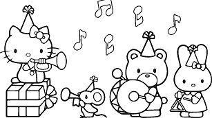 Hello Kitty With her friends in the Birthday party
