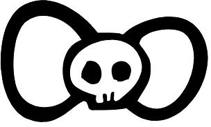 Hello Kitty Bow Tie Death Skull Coloring Page