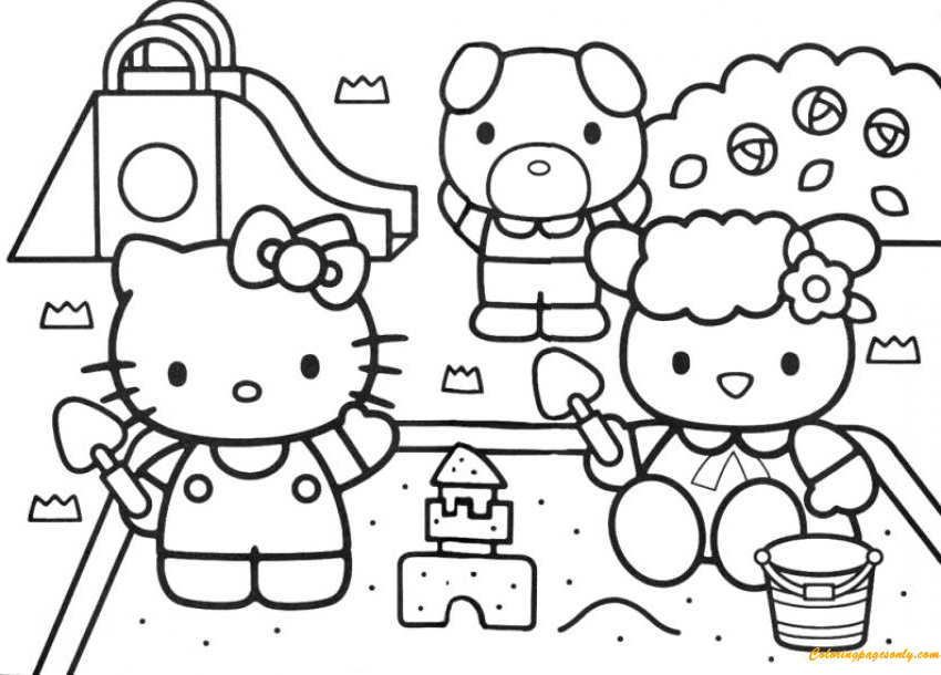 Hello Kitty Building A Sand Castle In The Park Coloring Page
