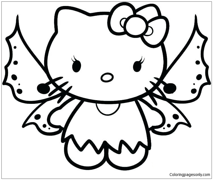 Hello Kitty Butterfly Coloring Page - Free Coloring Pages Online