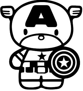 Hello Kitty Captain America Coloring Page