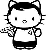 Hello Kitty Captain Kirk Coloring Page