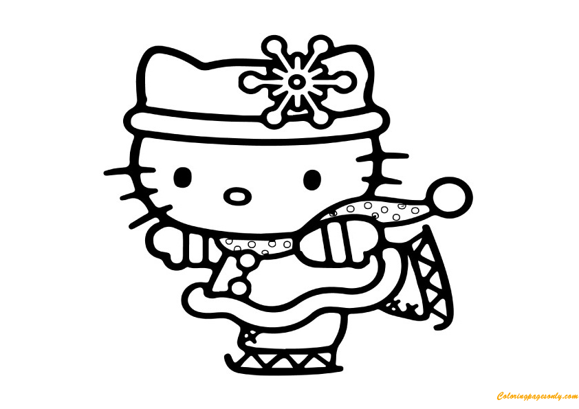 Hello Kitty Celebrating Christmas Coloring Page