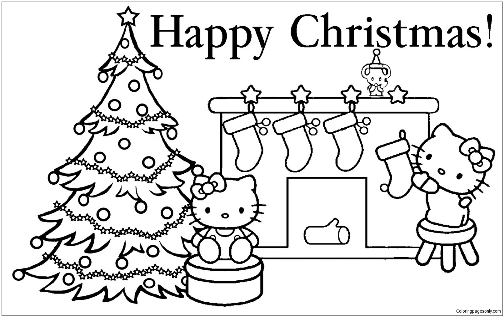 Hello Kitty Christmas 1 Coloring Page