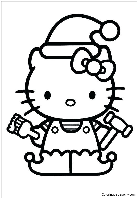 hello kitty christmas 2 coloring pages  cartoons coloring