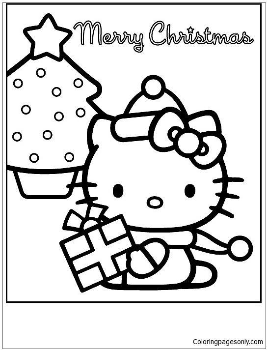Hello Kitty Christmas 3 Coloring Page - Free Coloring Pages Online