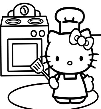 Hello Kitty Cooking In The Kitchen
