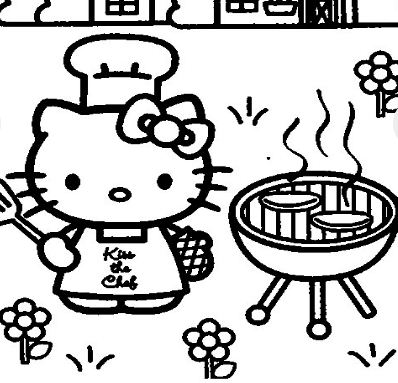 Hello Kitty Cooking Coloring Page