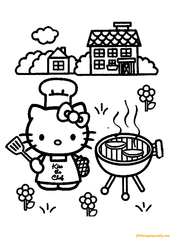 Hello Kitty Cooking Coloring Page Free Coloring Pages Online