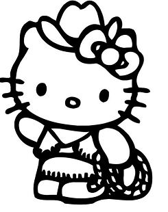 Hello Kitty Cowgirl Coloring Page