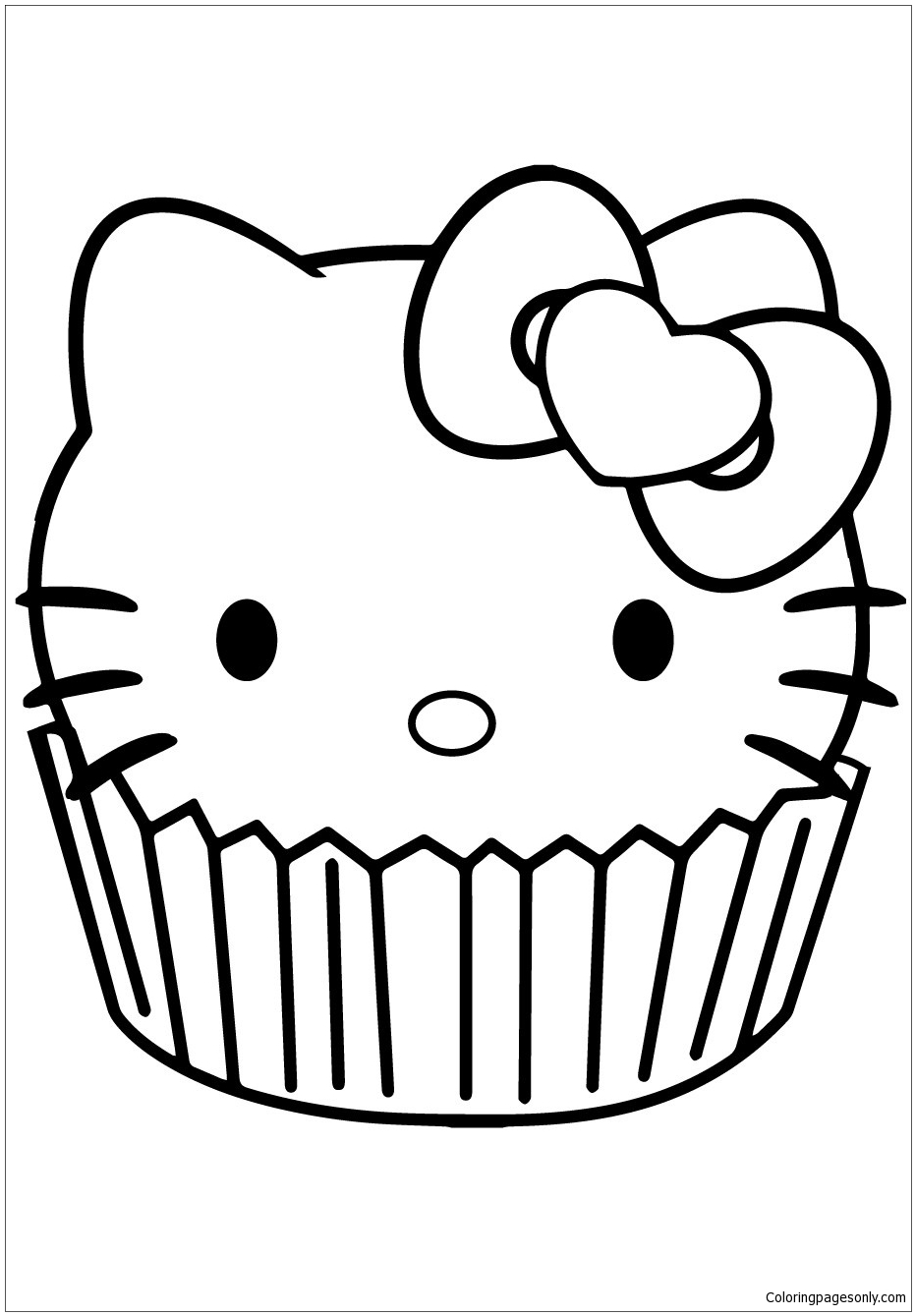 Online coloring pages hello kitty - Hello Kitty Cupcake Coloring Page