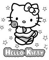 Hello Kitty Cute 8 Coloring Page