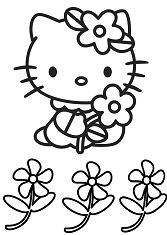 Hello Kitty Cute And Flowers Coloring Page