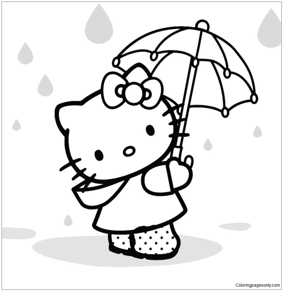 hello kitty cute under the raining00