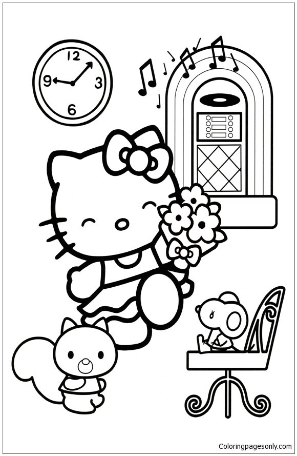 Hello Kitty Dancing Coloring Pages : Hello kitty dancing coloring page free pages