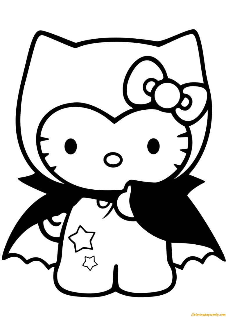 Hello Kitty Dracula Coloring Page