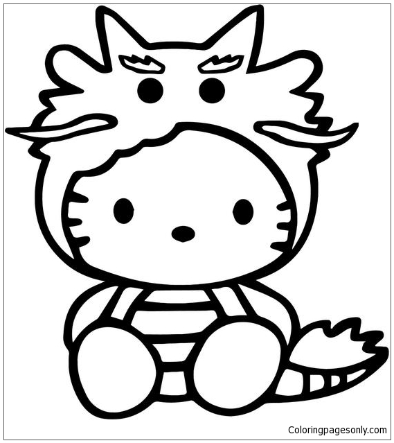 Hello Kitty Dragon Vinyl Decal Sticker Coloring Page Free Coloring