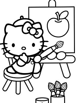 Hello Kitty Drawing An Apple