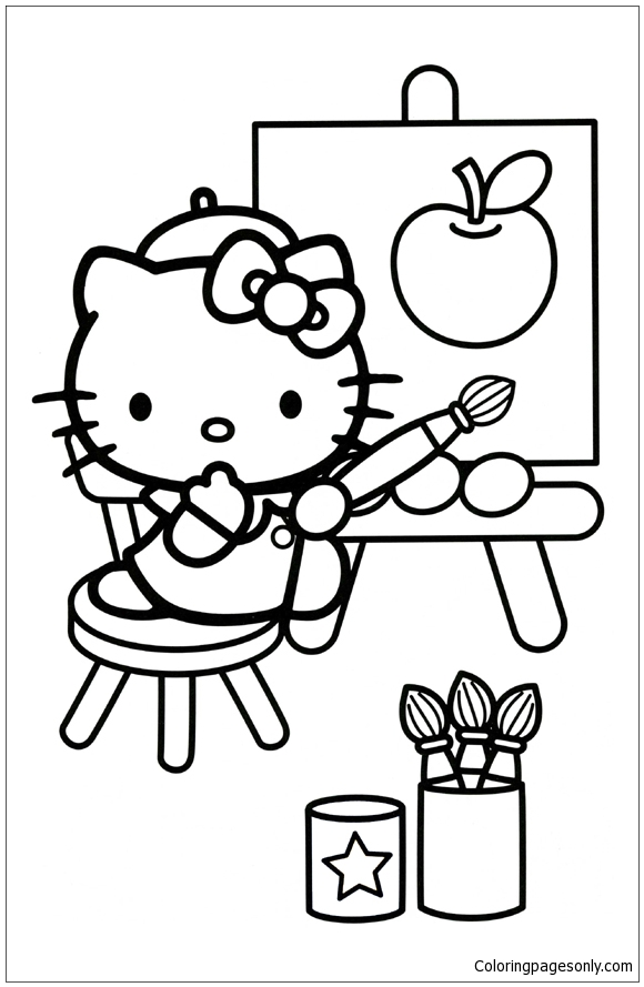 hello kitty drawing an apple coloring page