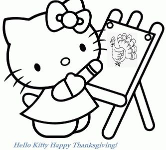 Hello Kitty Drawing Turkey In Thanksgiving Day