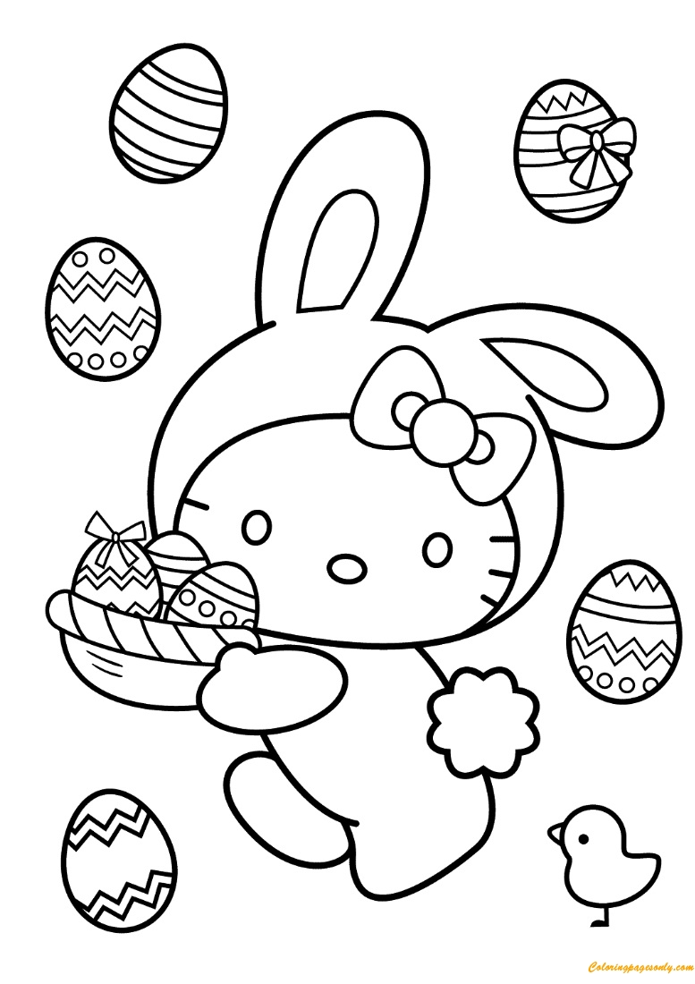 Hello Kitty Easter Bunny Coloring Page