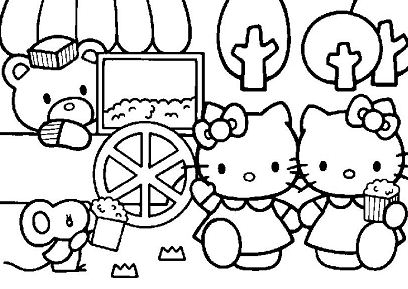 Hello Kitty Eating Popcorns With Her Friends