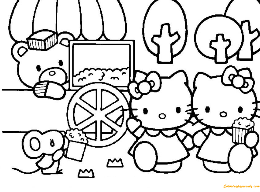 Hello Kitty Eating Popcorns With Her Friends Coloring Page