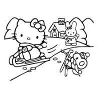Hello Kitty Enjoying Snow Skating With Her Friends