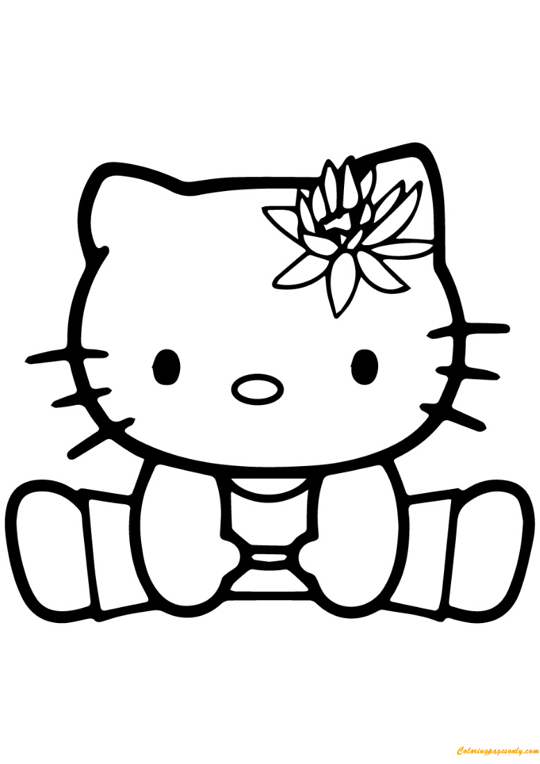 Free coloring pages for exercise - Hello Kitty Exercise Coloring Page