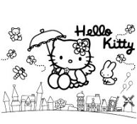 Hello Kitty Flying On A City With Friends Coloring Page