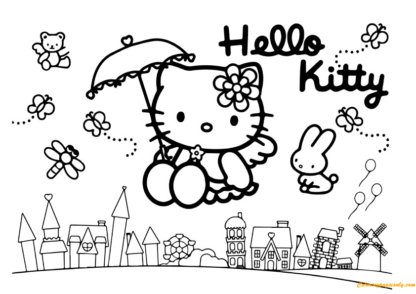 printable coloring pages hello kitty friendship | Hello Kitty Flying On A City With Friends Coloring Page ...