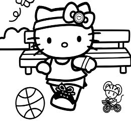 Hello Kitty Football Coloring Page