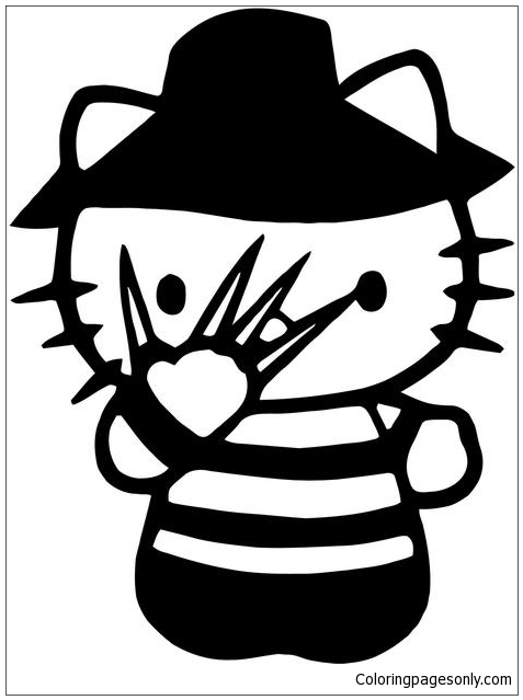 Hello Kitty Freddy Krueger Nightmare Elm Street Coloring Pages
