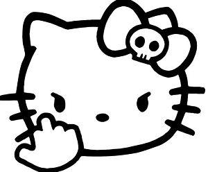 Hello Kitty Fuck Finger Flip Bird Coloring Page