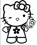 Hello Kitty Gangster Gun Coloring Page